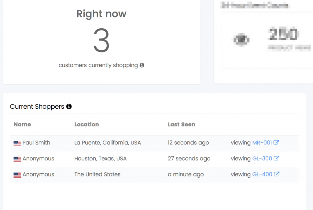 A screenshot of how the new dashboard widget looks in your Banana Stand dashboard. It shows any customers or visitors that are currently shopping on your store, where they are located, when they were last seen, what they were last seen doing and what product they were last seen interacting with.