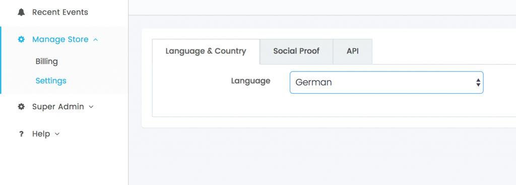 Where to change the default template language setting in Banana Stand.