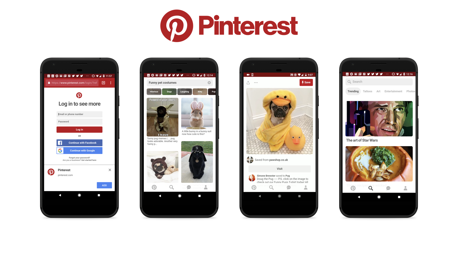 Pinterest PWA screenshot