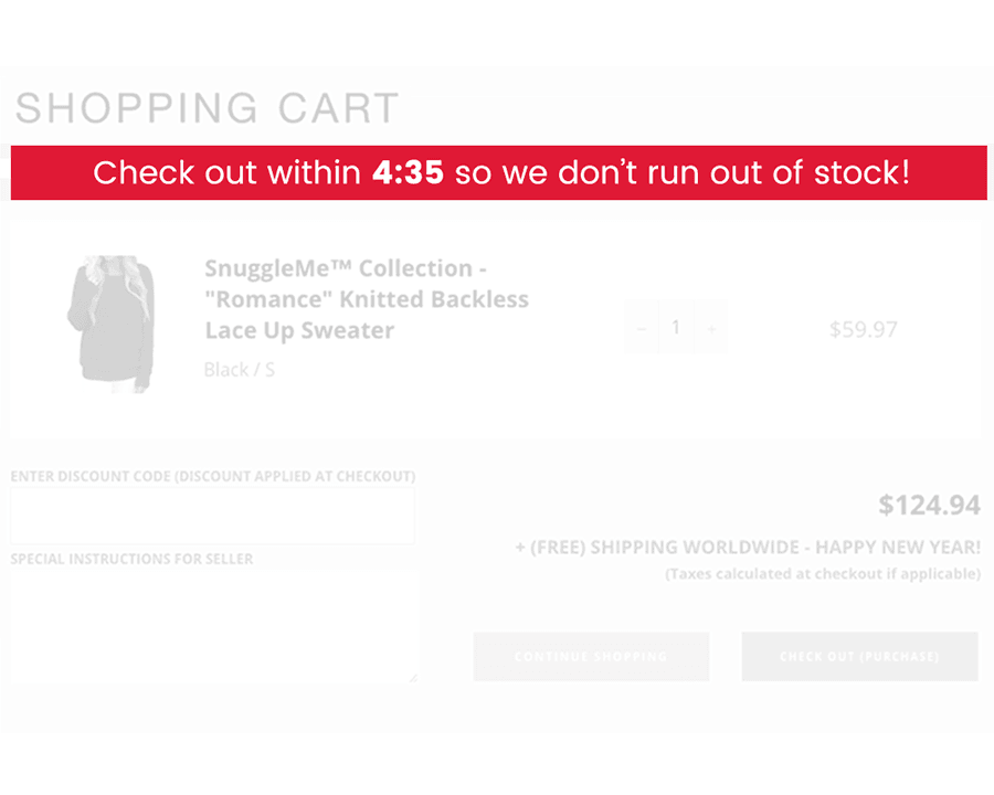 Cart Timer showing in Cart