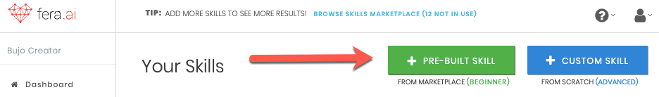Add Pre-Built Skill Button