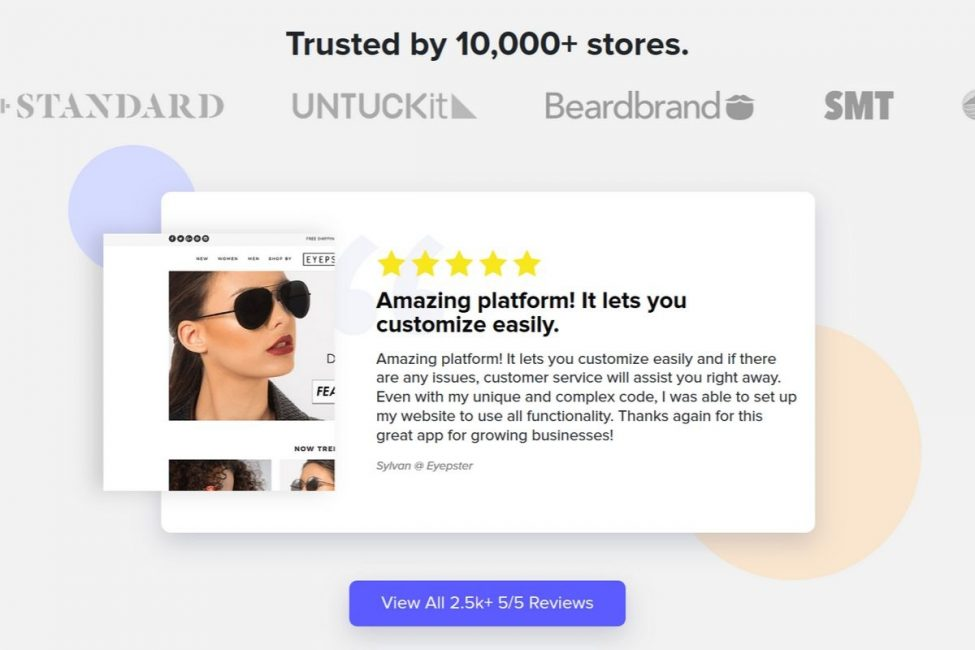 having reviews on your homepage to increase trust
