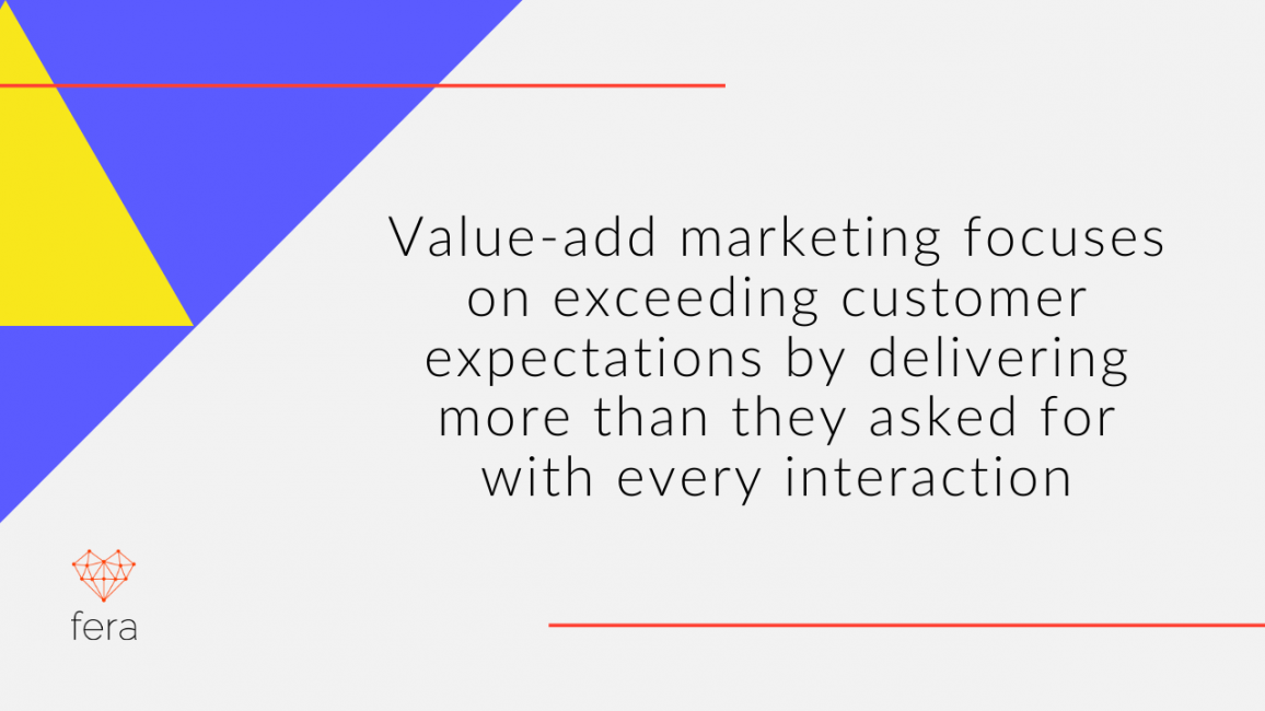 Value-add marketing focuses on exceeding customer expectations by delivering more than they asked for with every interaction.