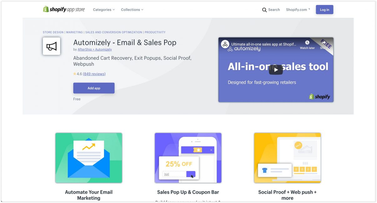 Automizely ‑ Email & Sales Pop Shopify App Store 2020