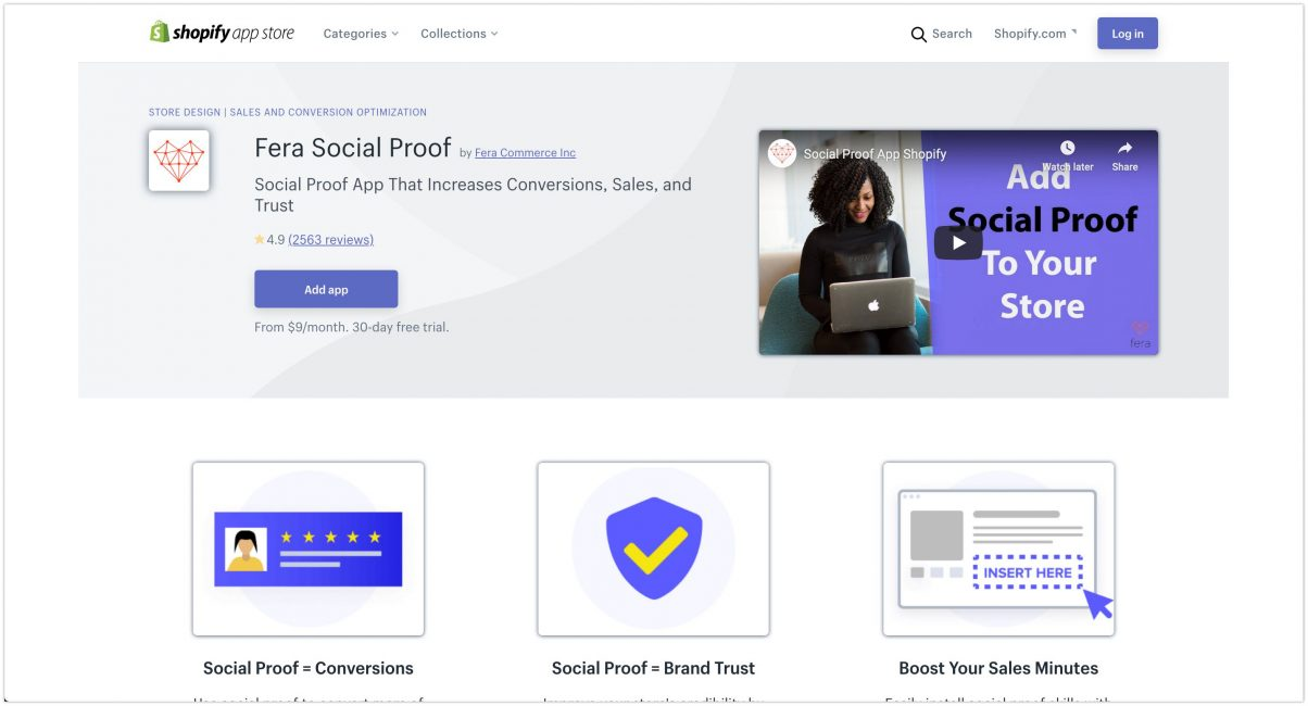 Fera Social Proof – Shopify App Store Listing 2020