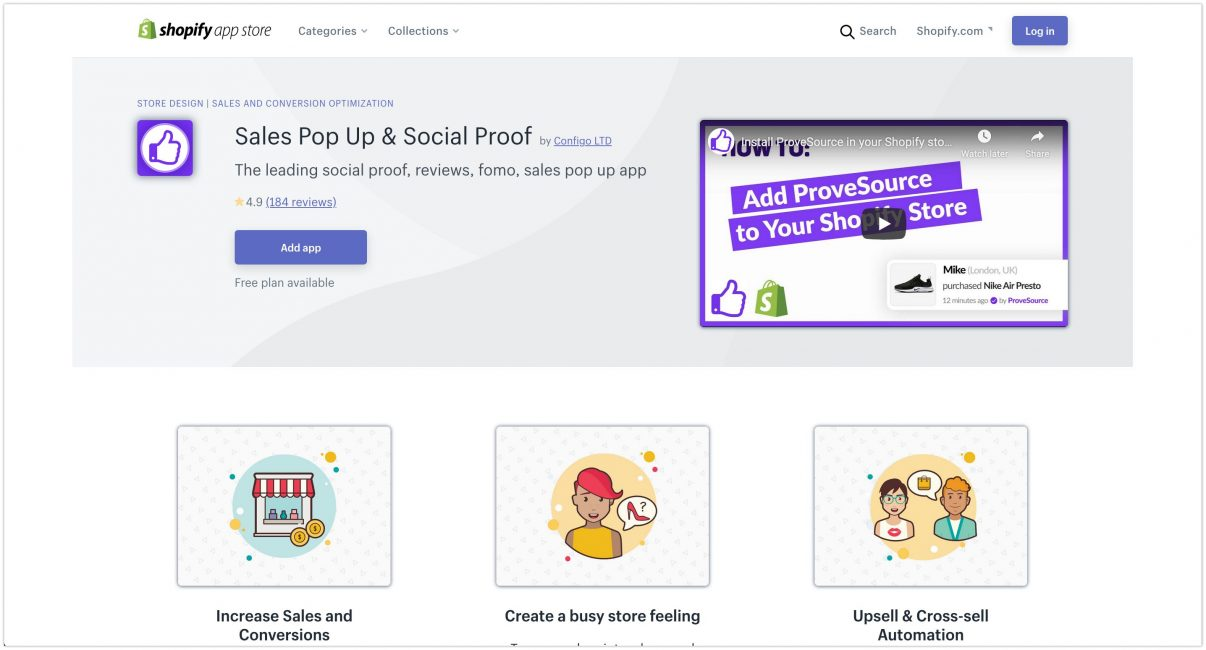 ProveSource Social Proof Shopify App Store 2020