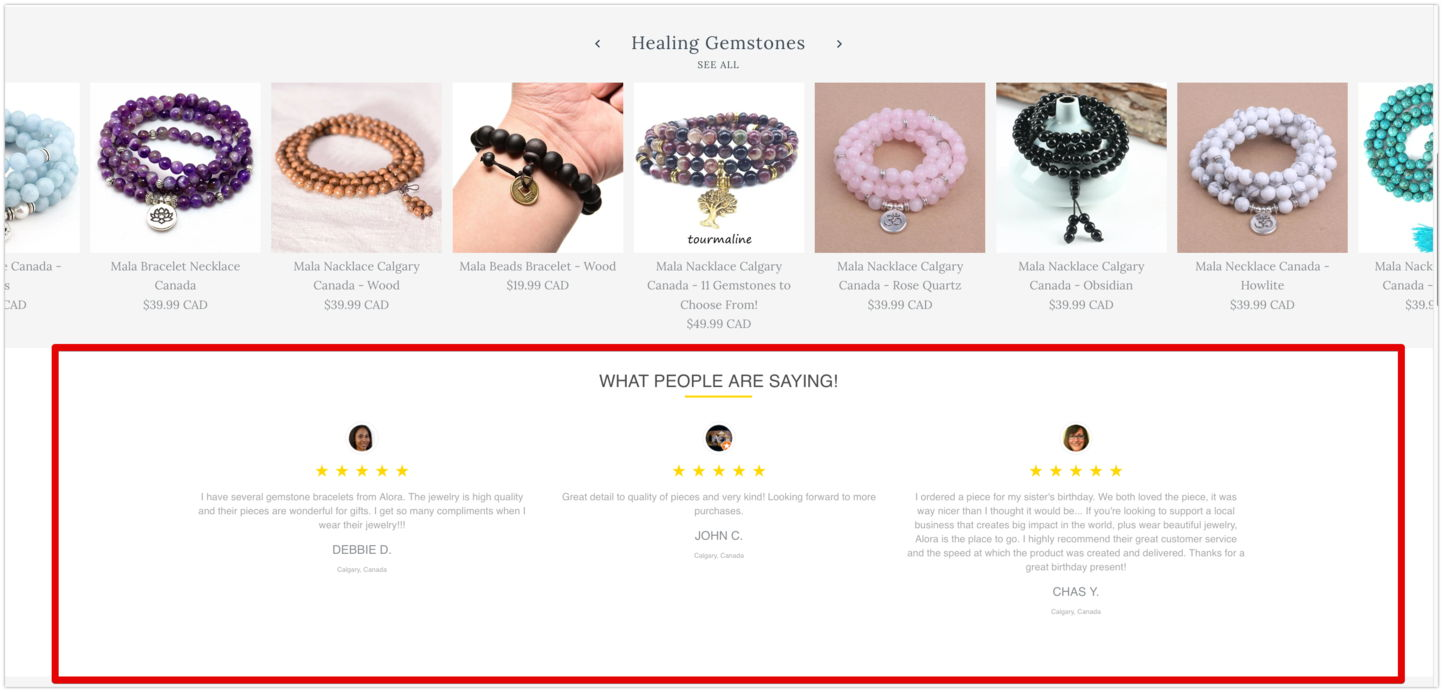 google reviews on shopify home page