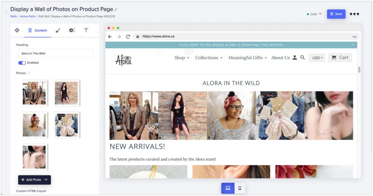 social proof platform desktop view