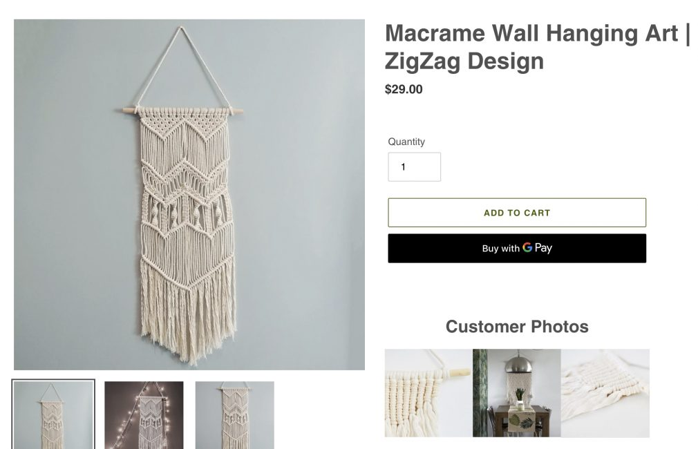 show customer photos on product page